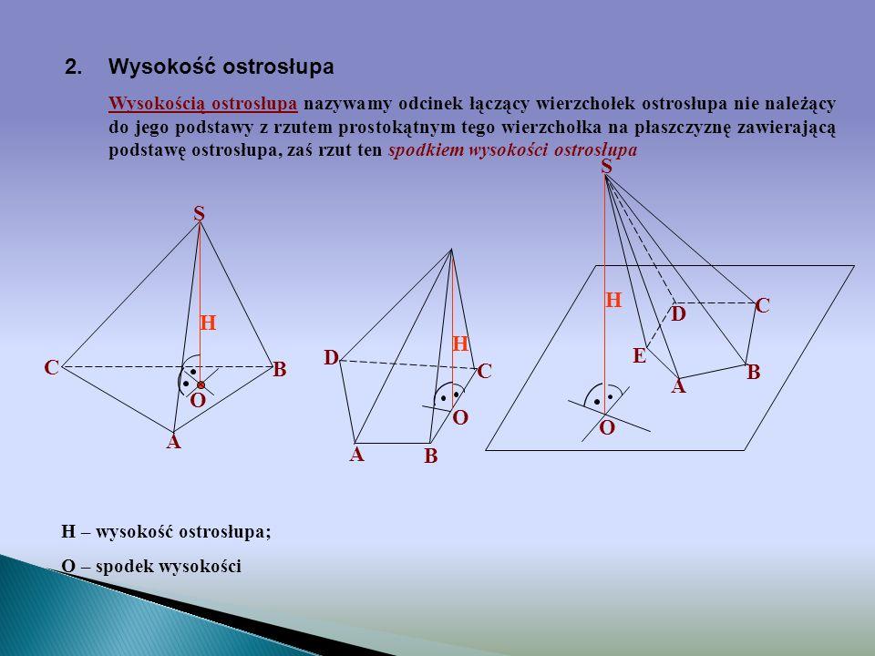 A B C D S 1.Definicja ostrosłupa Ostrosłupem nazywamy wielościan, którego podstawa jest dowolnym wielokątem, a ściany boczne są trójkątami mającymi po