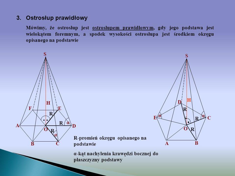2.Wysokość ostrosłupa Wysokością ostrosłupa nazywamy odcinek łączący wierzchołek ostrosłupa nie należący do jego podstawy z rzutem prostokątnym tego w