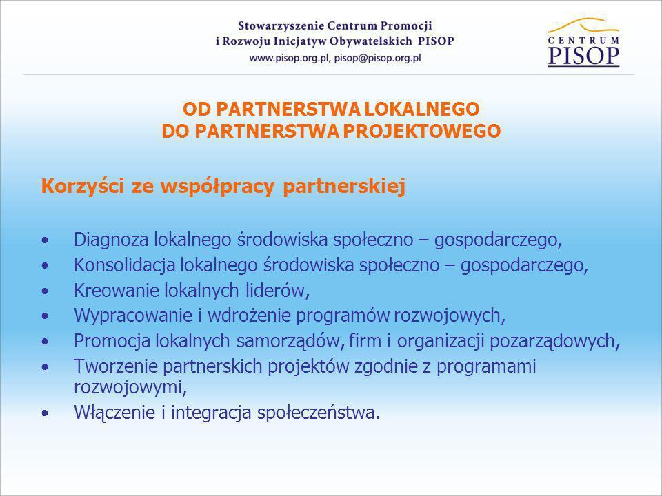 OD PARTNERSTWA LOKALNEGO DO PARTNERSTWA PROJEKTOWEGO Korzyści ze współpracy partnerskiej Diagnoza lokalnego środowiska społeczno – gospodarczego, Kons
