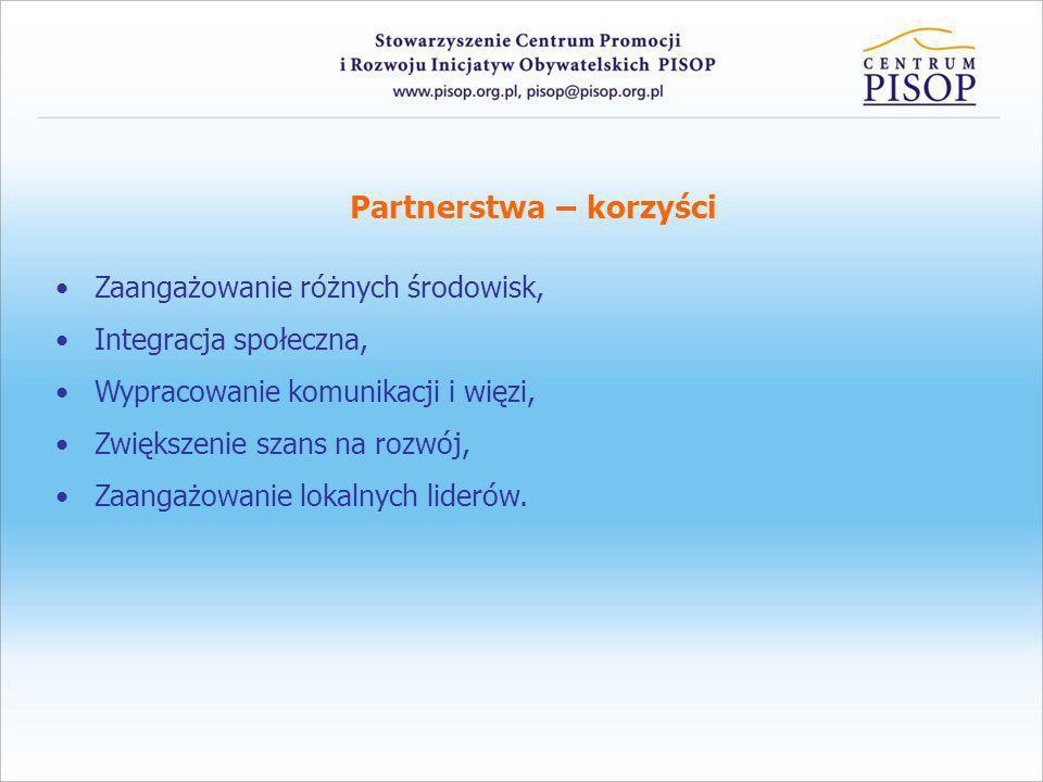 Partnerstwa – korzyści Zaangażowanie różnych środowisk, Integracja społeczna, Wypracowanie komunikacji i więzi, Zwiększenie szans na rozwój, Zaangażow