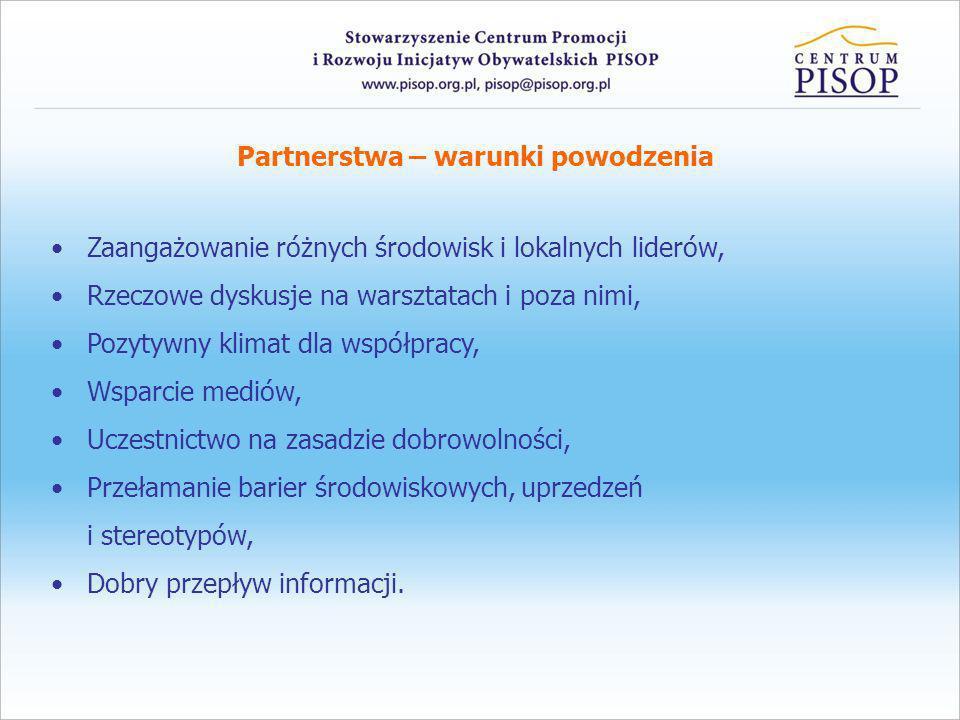 Partnerstwa – warunki powodzenia Zaangażowanie różnych środowisk i lokalnych liderów, Rzeczowe dyskusje na warsztatach i poza nimi, Pozytywny klimat d