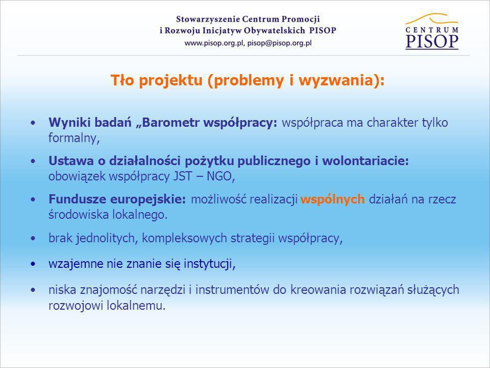 Tło projektu (problemy i wyzwania): Wyniki badań Barometr współpracy: współpraca ma charakter tylko formalny, Ustawa o działalności pożytku publiczneg