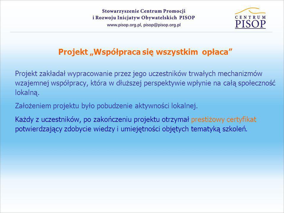 Projekt Współpraca się wszystkim opłaca Projekt zakładał wypracowanie przez jego uczestników trwałych mechanizmów wzajemnej współpracy, która w dłuższ