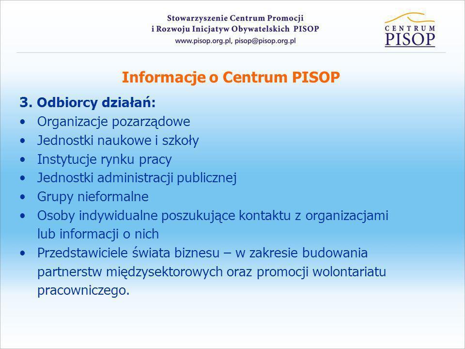 Informacje o Centrum PISOP 3. Odbiorcy działań: Organizacje pozarządowe Jednostki naukowe i szkoły Instytucje rynku pracy Jednostki administracji publ