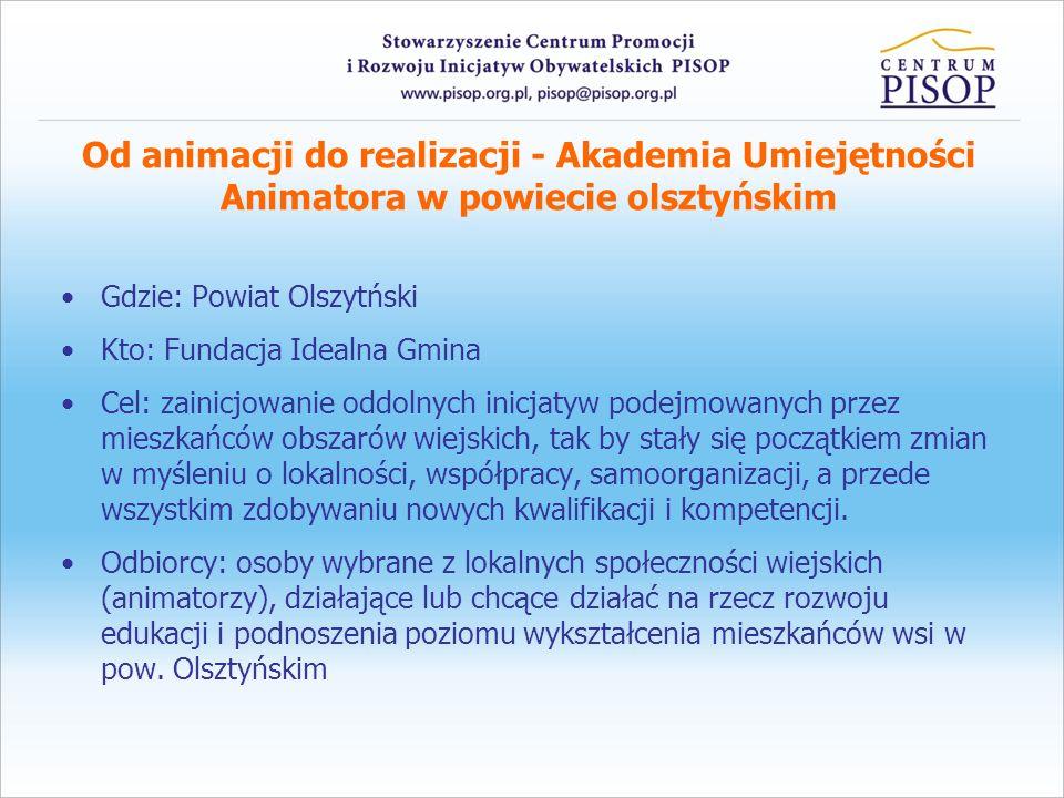 Od animacji do realizacji - Akademia Umiejętności Animatora w powiecie olsztyńskim Gdzie: Powiat Olszytński Kto: Fundacja Idealna Gmina Cel: zainicjow
