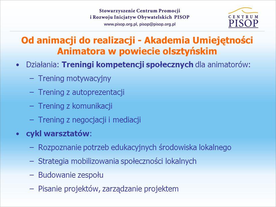 Od animacji do realizacji - Akademia Umiejętności Animatora w powiecie olsztyńskim Działania: Treningi kompetencji społecznych dla animatorów: –Trenin
