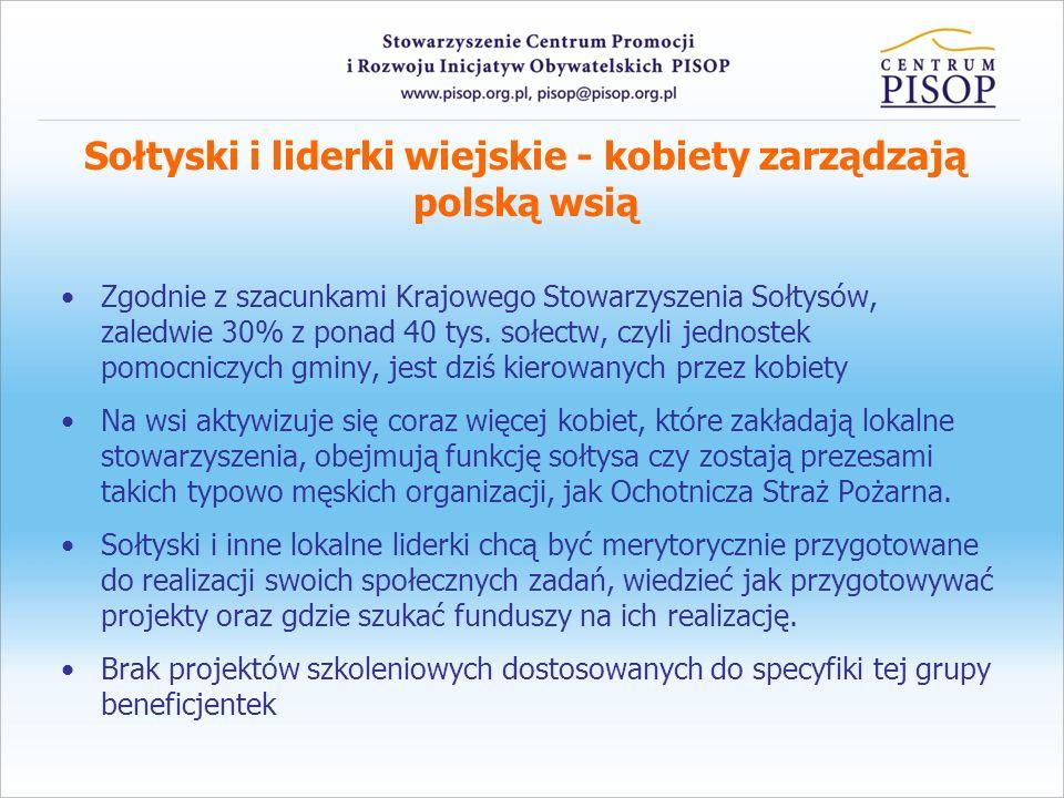 Sołtyski i liderki wiejskie - kobiety zarządzają polską wsią Zgodnie z szacunkami Krajowego Stowarzyszenia Sołtysów, zaledwie 30% z ponad 40 tys. sołe