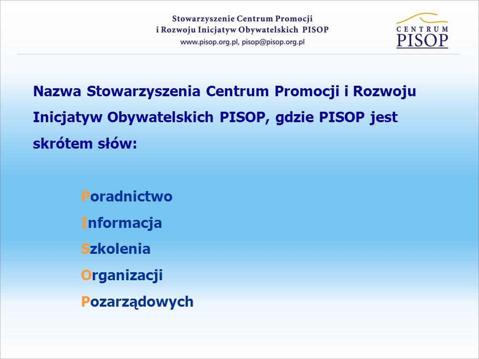 Nazwa Stowarzyszenia Centrum Promocji i Rozwoju Inicjatyw Obywatelskich PISOP, gdzie PISOP jest skrótem słów: Poradnictwo Informacja Szkolenia Organiz