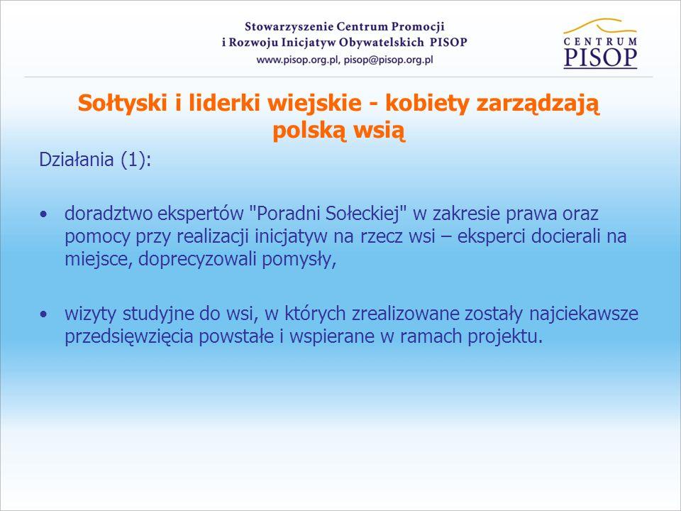 Sołtyski i liderki wiejskie - kobiety zarządzają polską wsią Działania (1): doradztwo ekspertów