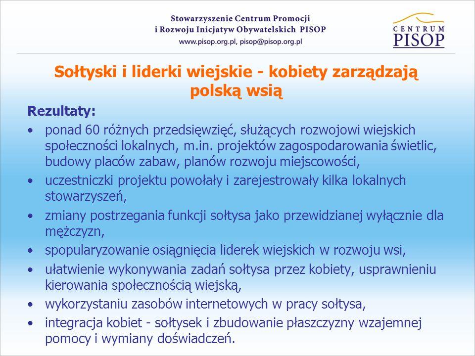 Sołtyski i liderki wiejskie - kobiety zarządzają polską wsią Rezultaty: ponad 60 różnych przedsięwzięć, służących rozwojowi wiejskich społeczności lok