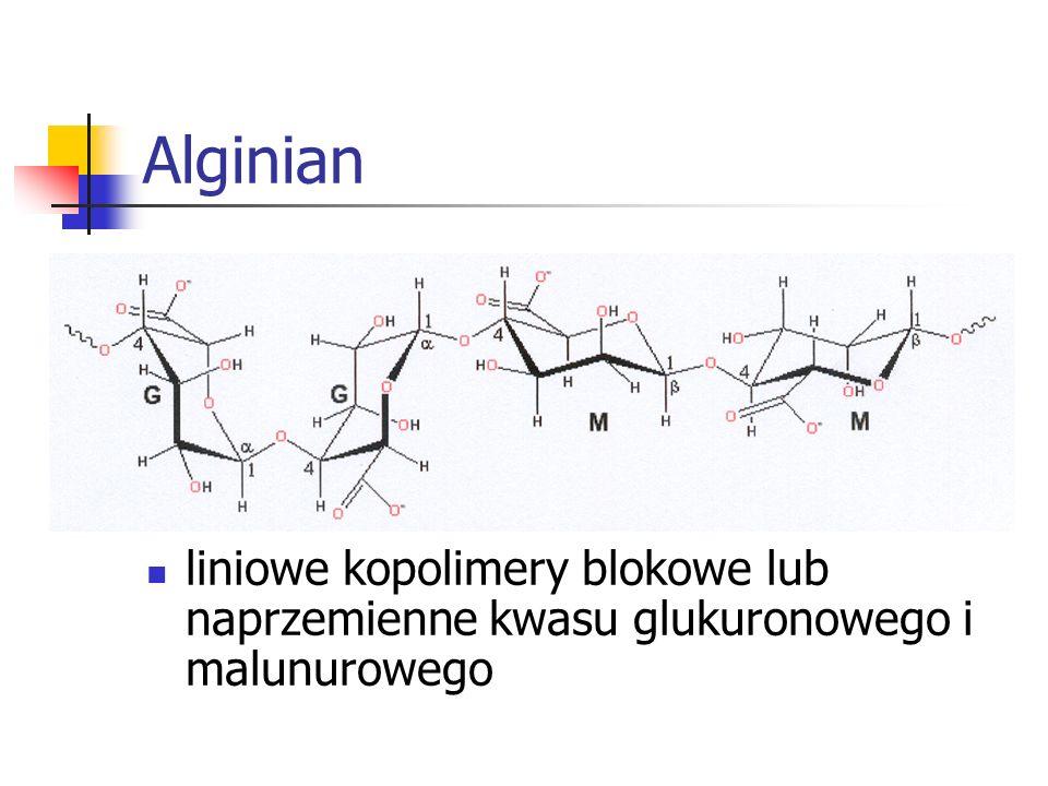Alginian liniowe kopolimery blokowe lub naprzemienne kwasu glukuronowego i malunurowego