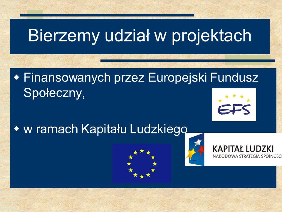 Bierzemy udział w projektach Finansowanych przez Europejski Fundusz Społeczny, w ramach Kapitału Ludzkiego