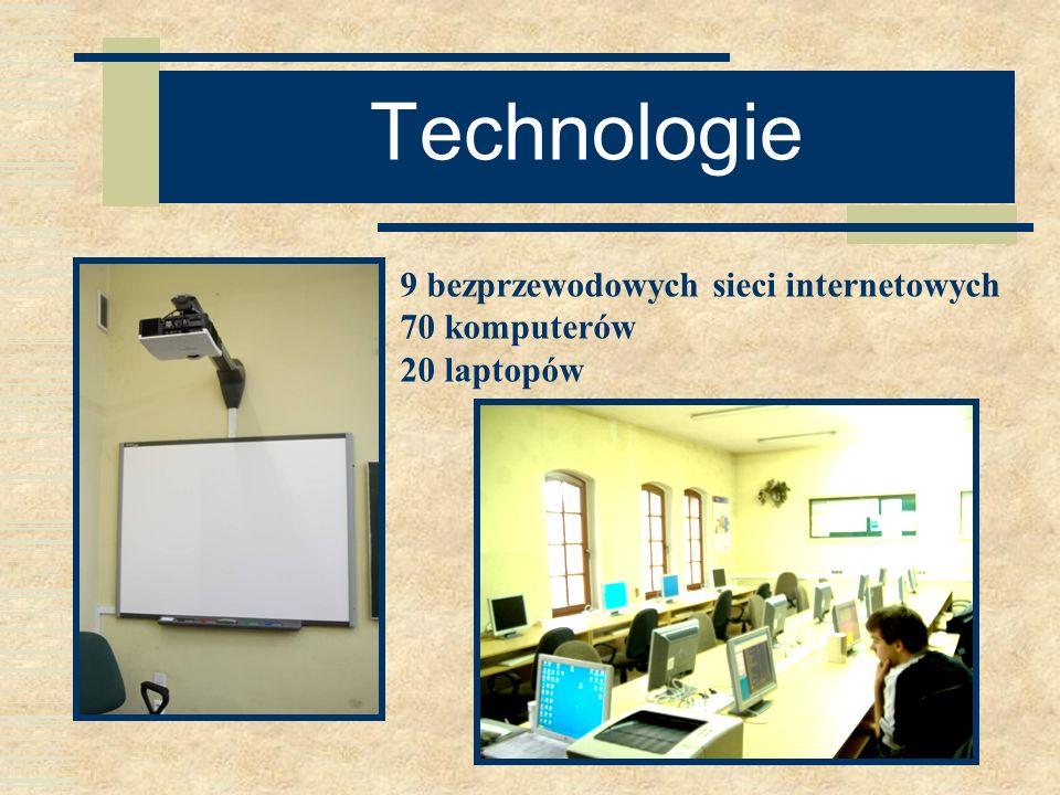 Technologie 9 bezprzewodowych sieci internetowych 70 komputerów 20 laptopów