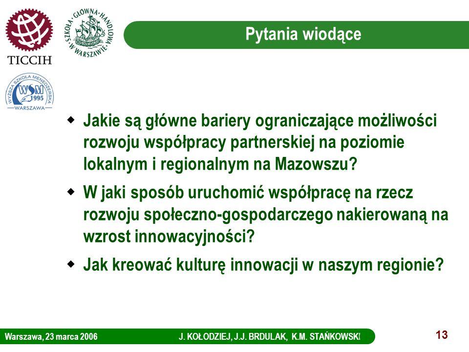 Warszawa, 23 marca 2006 J. KOŁODZIEJ, J.J. BRDULAK, K.M. STAŃKOWSKI LOGO KBC Group 13 Pytania wiodące Jakie są główne bariery ograniczające możliwości