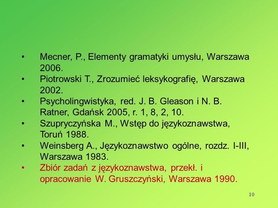 10 Mecner, P., Elementy gramatyki umysłu, Warszawa 2006. Piotrowski T., Zrozumieć leksykografię, Warszawa 2002. Psycholingwistyka, red. J. B. Gleason