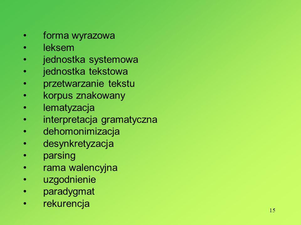15 forma wyrazowa leksem jednostka systemowa jednostka tekstowa przetwarzanie tekstu korpus znakowany lematyzacja interpretacja gramatyczna dehomonimi