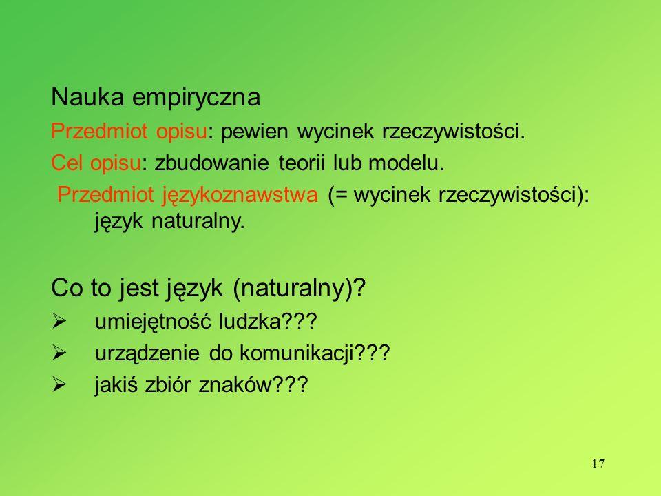 17 Nauka empiryczna Przedmiot opisu: pewien wycinek rzeczywistości. Cel opisu: zbudowanie teorii lub modelu. Przedmiot językoznawstwa (= wycinek rzecz