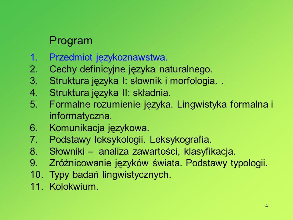 4 Program 1.Przedmiot językoznawstwa. 2.Cechy definicyjne języka naturalnego. 3.Struktura języka I: słownik i morfologia.. 4.Struktura języka II: skła