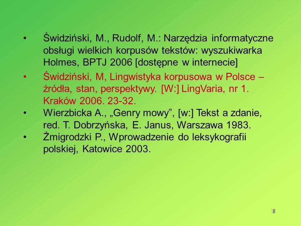 8 Świdziński, M., Rudolf, M.: Narzędzia informatyczne obsługi wielkich korpusów tekstów: wyszukiwarka Holmes, BPTJ 2006 [dostępne w internecie] Świdzi