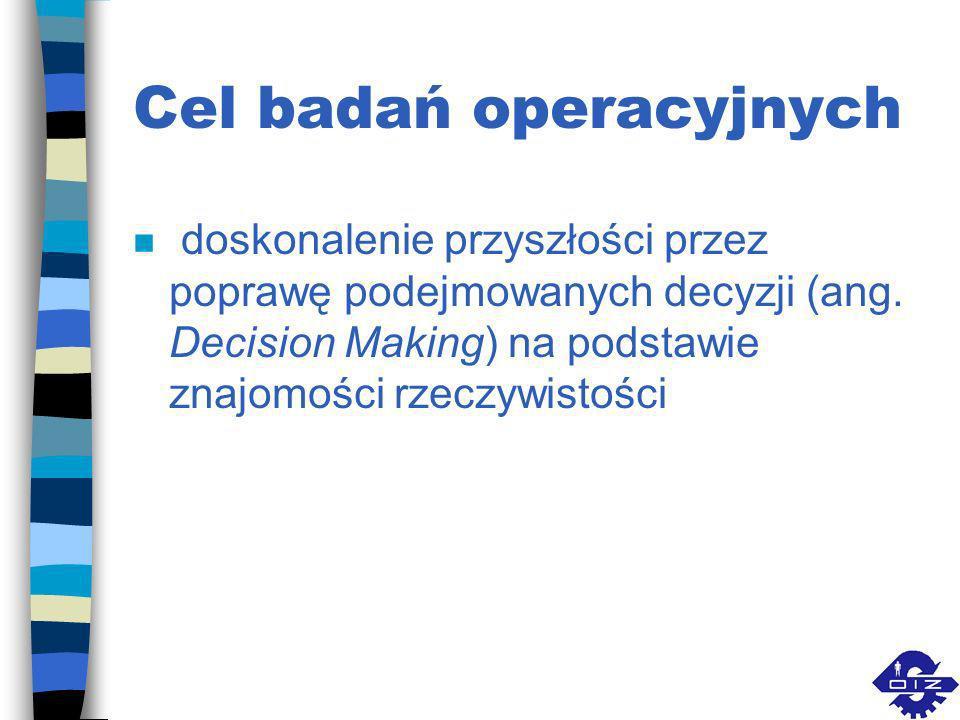 Badania operacyjne (ang. Operation Research) n wyznaczanie optymalnych rozwiązań różnorodnych problemów, głównie technicznych, organizacyjnych, ekonom