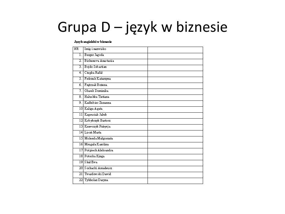 Grupa D – język w biznesie