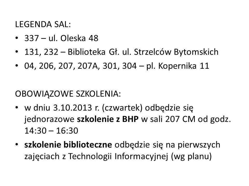 LEGENDA SAL: 337 – ul. Oleska 48 131, 232 – Biblioteka Gł.