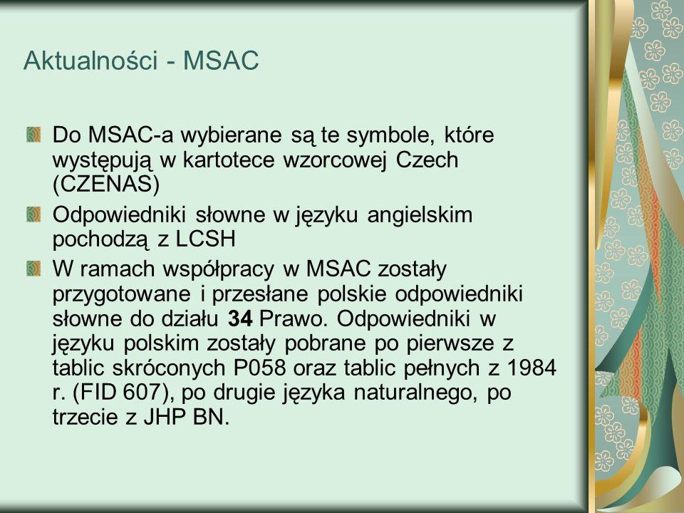 Aktualności - MSAC Do MSAC-a wybierane są te symbole, które występują w kartotece wzorcowej Czech (CZENAS) Odpowiedniki słowne w języku angielskim poc