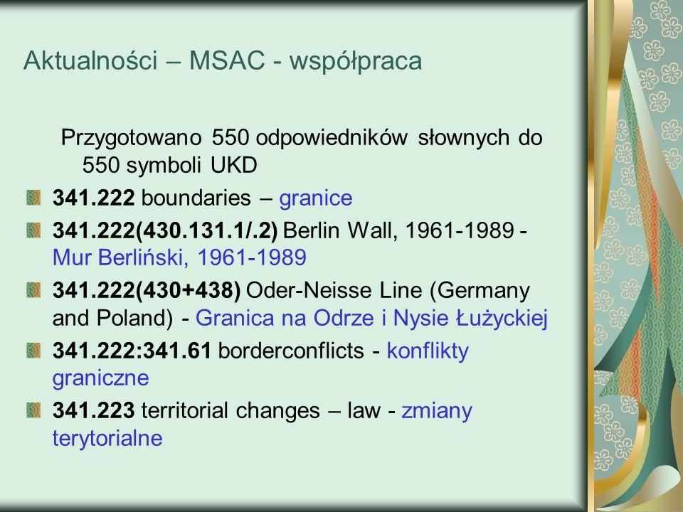 Aktualności – MSAC - współpraca Przygotowano 550 odpowiedników słownych do 550 symboli UKD 341.222 boundaries – granice 341.222(430.131.1/.2) Berlin W