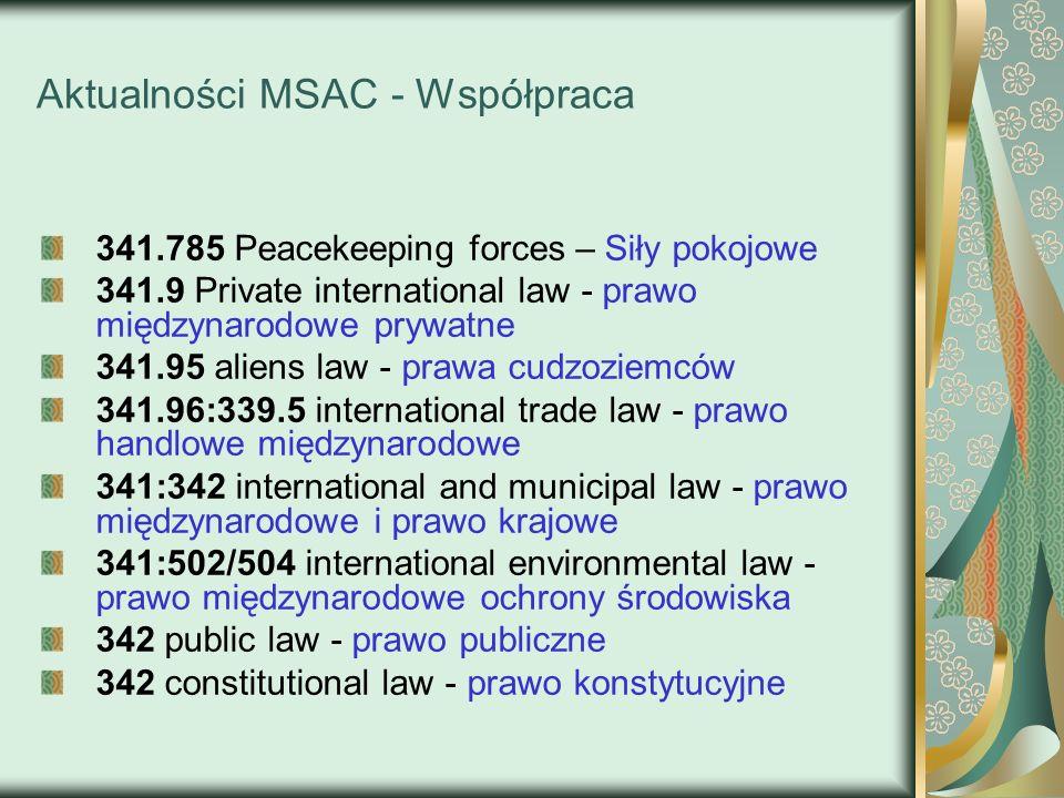 Aktualności MSAC - Współpraca 341.785 Peacekeeping forces – Siły pokojowe 341.9 Private international law - prawo międzynarodowe prywatne 341.95 alien