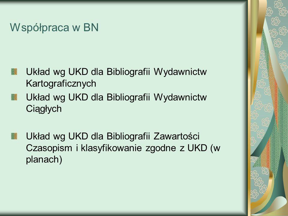 Współpraca w BN Układ wg UKD dla Bibliografii Wydawnictw Kartograficznych Układ wg UKD dla Bibliografii Wydawnictw Ciągłych Układ wg UKD dla Bibliogra
