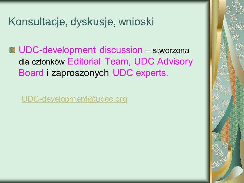 Konsultacje, dyskusje, wnioski UDC-development discussion – stworzona dla członków Editorial Team, UDC Advisory Board i zaproszonych UDC experts. UDC-