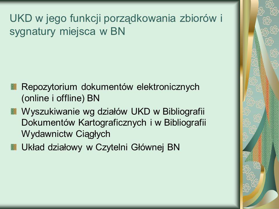 UKD w jego funkcji porządkowania zbiorów i sygnatury miejsca w BN Repozytorium dokumentów elektronicznych (online i offline) BN Wyszukiwanie wg działó