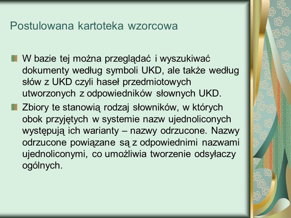 Postulowana kartoteka wzorcowa W bazie tej można przeglądać i wyszukiwać dokumenty według symboli UKD, ale także według słów z UKD czyli haseł przedmi