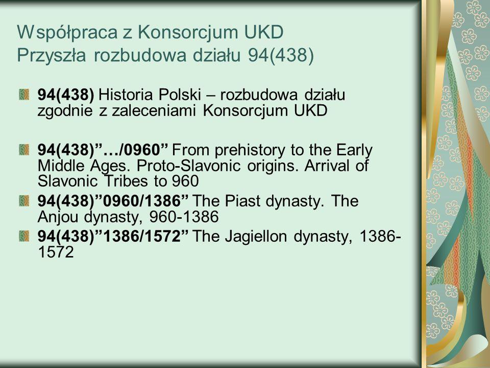 Współpraca z Konsorcjum UKD Przyszła rozbudowa działu 94(438) 94(438) Historia Polski – rozbudowa działu zgodnie z zaleceniami Konsorcjum UKD 94(438)…