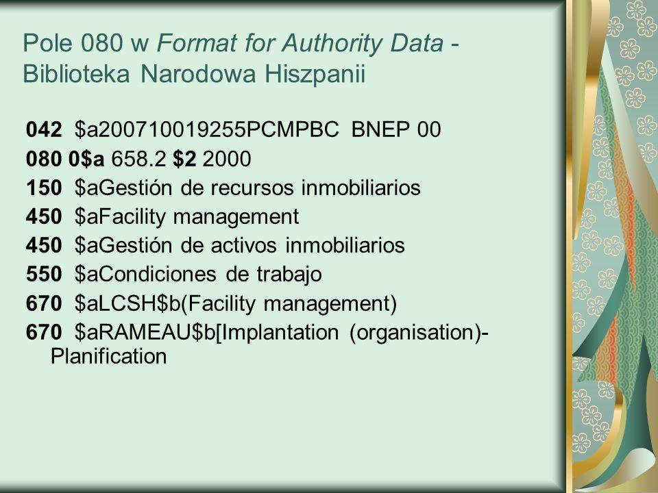 Pole 080 w Format for Authority Data - Biblioteka Narodowa Hiszpanii 042 $a200710019255PCMPBC BNEP 00 080 0$a 658.2 $2 2000 150 $aGestión de recursos