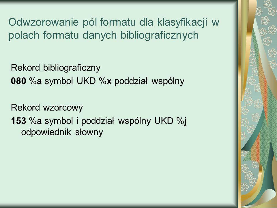 Odwzorowanie pól formatu dla klasyfikacji w polach formatu danych bibliograficznych Rekord bibliograficzny 080 %a symbol UKD %x poddział wspólny Rekor