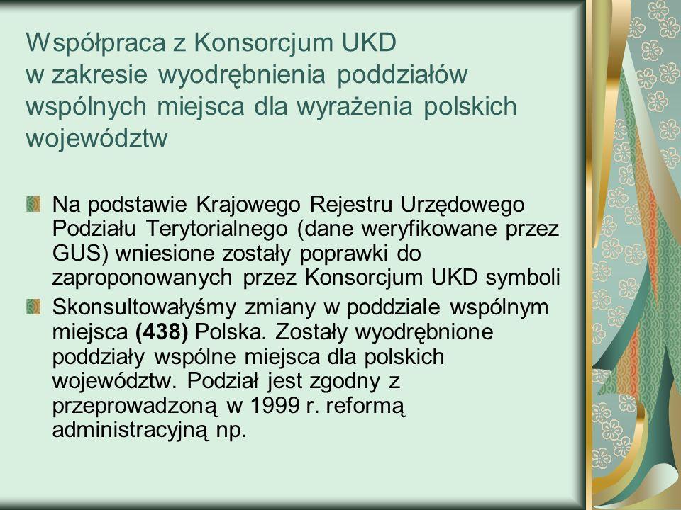 Współpraca z Konsorcjum UKD w zakresie wyodrębnienia poddziałów wspólnych miejsca dla wyrażenia polskich województw Na podstawie Krajowego Rejestru Ur