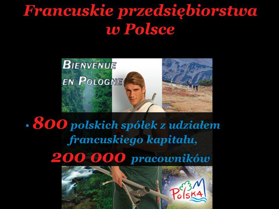 Francuskie przedsiębiorstwa w Polsce 800 polskich spółek z udziałem francuskiego kapitału, 200 000 pracowników