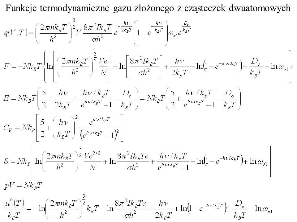 Funkcje termodynamiczne gazu złożonego z cząsteczek dwuatomowych
