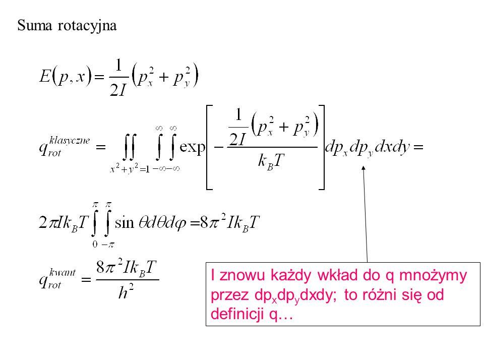 Suma rotacyjna I znowu każdy wkład do q mnożymy przez dp x dp y dxdy; to różni się od definicji q…