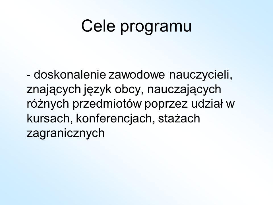 Cele programu - doskonalenie zawodowe nauczycieli, znających język obcy, nauczających różnych przedmiotów poprzez udział w kursach, konferencjach, sta