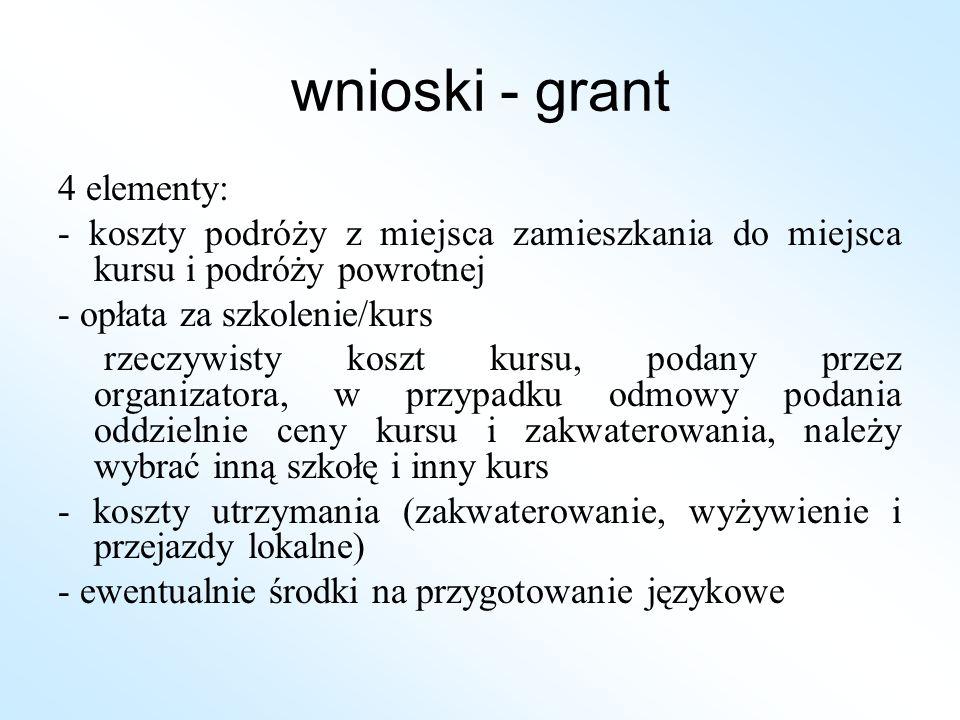 wnioski - grant 4 elementy: - koszty podróży z miejsca zamieszkania do miejsca kursu i podróży powrotnej - opłata za szkolenie/kurs rzeczywisty koszt