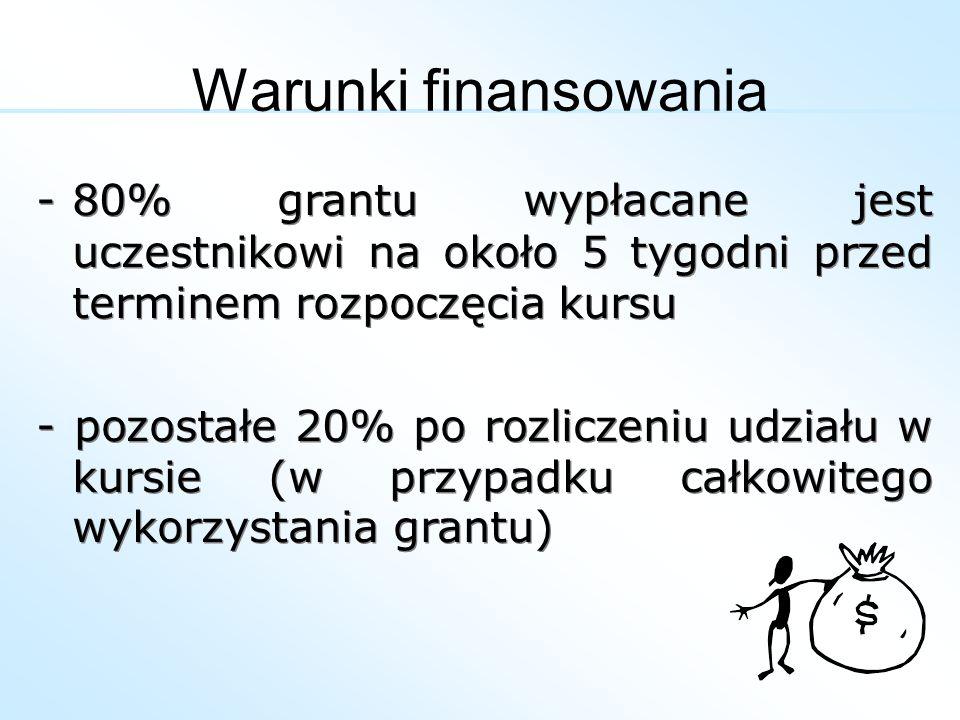 -80% grantu wypłacane jest uczestnikowi na około 5 tygodni przed terminem rozpoczęcia kursu - pozostałe 20% po rozliczeniu udziału w kursie (w przypad