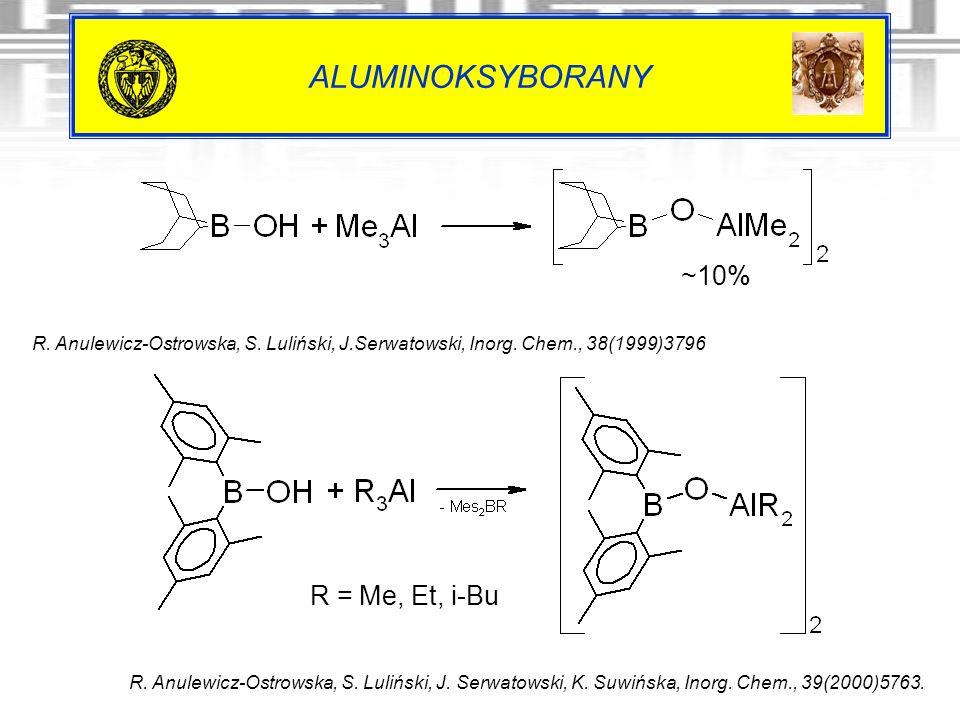 ALUMINOKSYBORANY R. Anulewicz-Ostrowska, S. Luliński, J. Serwatowski, K. Suwińska, Inorg. Chem., 39(2000)5763. R. Anulewicz-Ostrowska, S. Luliński, J.
