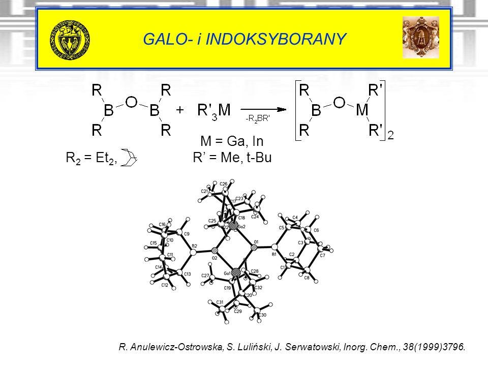 GALO- i INDOKSYBORANY R. Anulewicz-Ostrowska, S. Luliński, J. Serwatowski, Inorg. Chem., 38(1999)3796. R 2 = Et 2, M = Ga, In R = Me, t-Bu