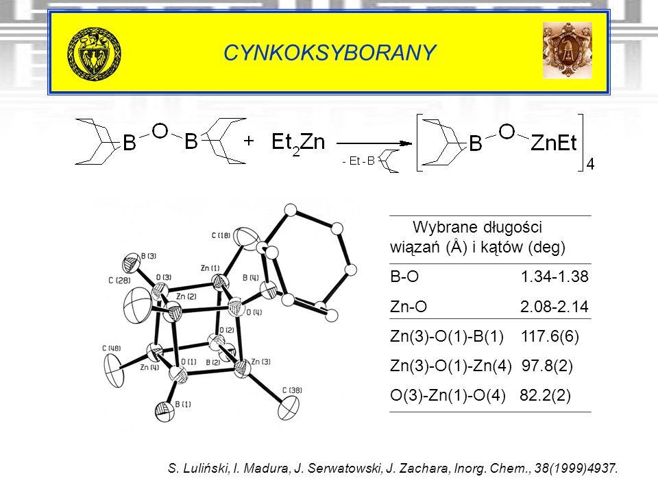 CYNKOKSYBORANY S. Luliński, I. Madura, J. Serwatowski, J. Zachara, Inorg. Chem., 38(1999)4937. Wybrane długości wiązań (Å) i kątów (deg) B-O 1.34-1.38