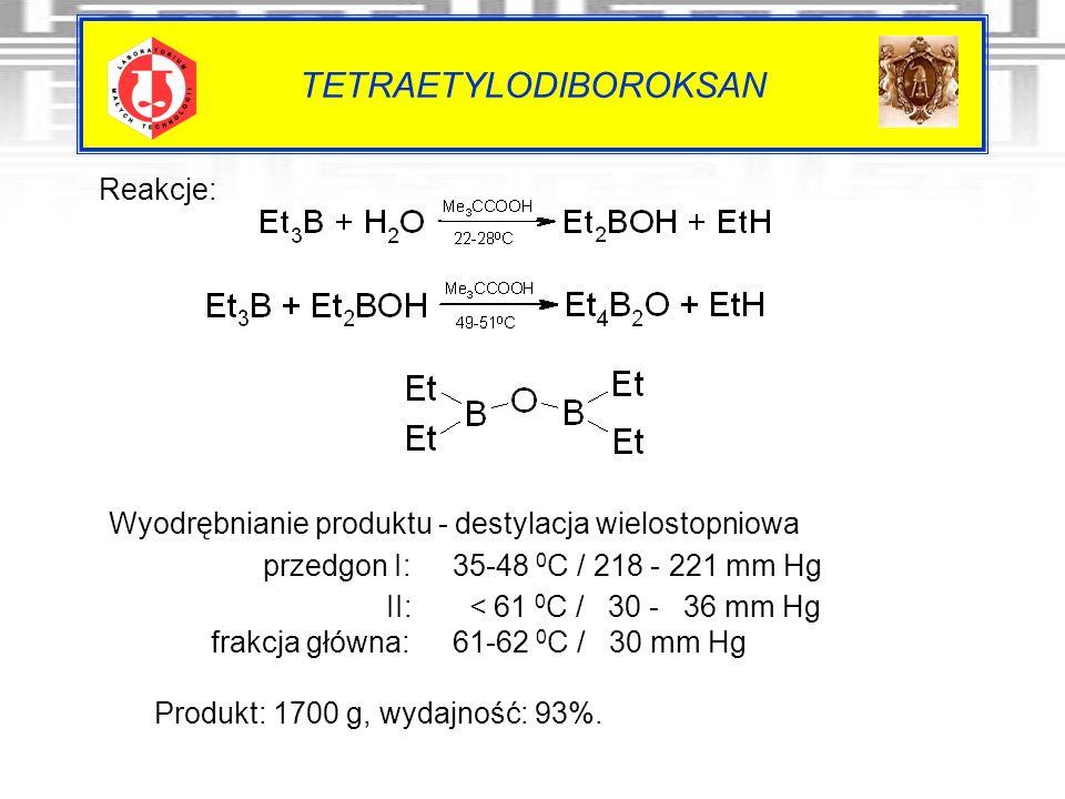 TETRAETYLODIBOROKSAN Reakcje: Wyodrębnianie produktu - destylacja wielostopniowa przedgon I: 35-48 0 C / 218 - 221 mm Hg II: < 61 0 C / 30 - 36 mm Hg