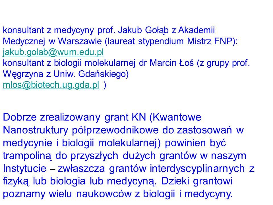 konsultant z medycyny prof. Jakub Gołąb z Akademii Medycznej w Warszawie (laureat stypendium Mistrz FNP): jakub.golab@wum.edu.pl jakub.golab@wum.edu.p