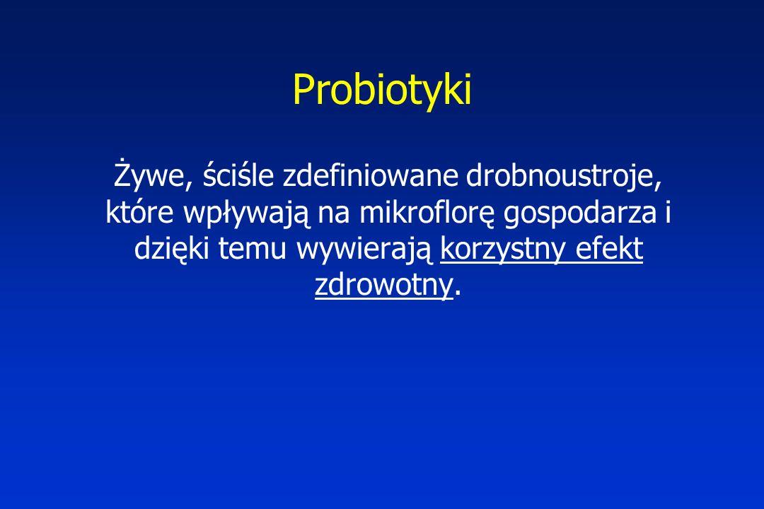Probiotyki Żywe, ściśle zdefiniowane drobnoustroje, które wpływają na mikroflorę gospodarza i dzięki temu wywierają korzystny efekt zdrowotny.
