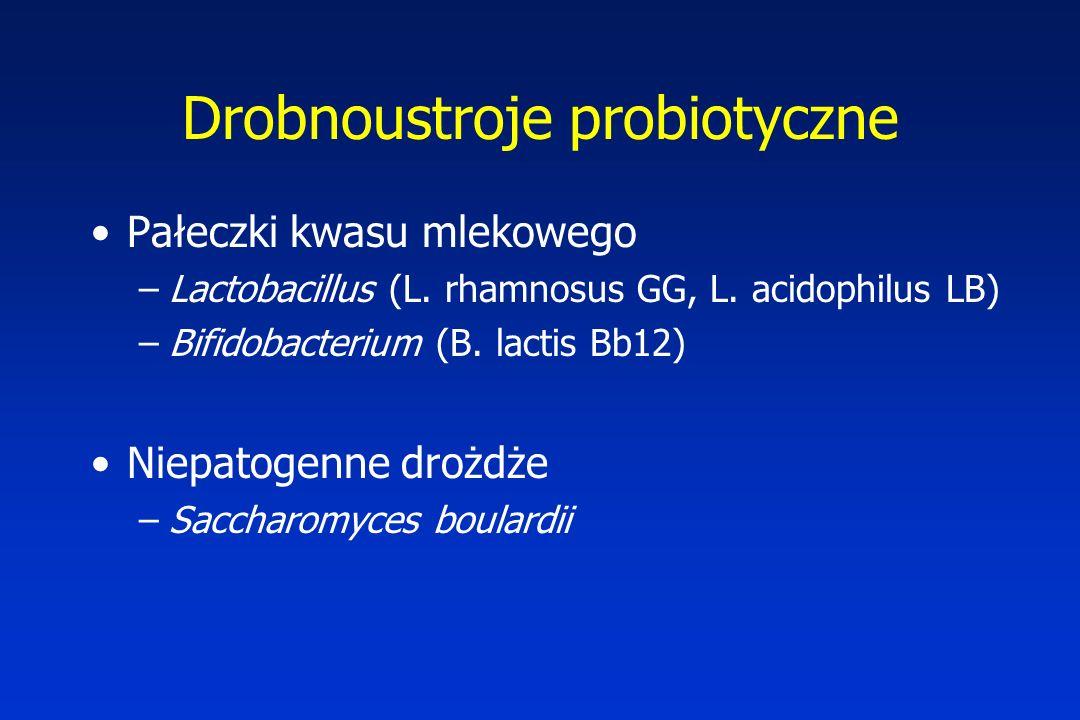 Drobnoustroje probiotyczne Pałeczki kwasu mlekowego –Lactobacillus (L. rhamnosus GG, L. acidophilus LB) –Bifidobacterium (B. lactis Bb12) Niepatogenne